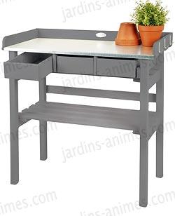 Table de rempotage bois zinc mobilier de jardin for Table de jardinage en hauteur