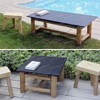 Table basse en ardoise et tabouret de jardin