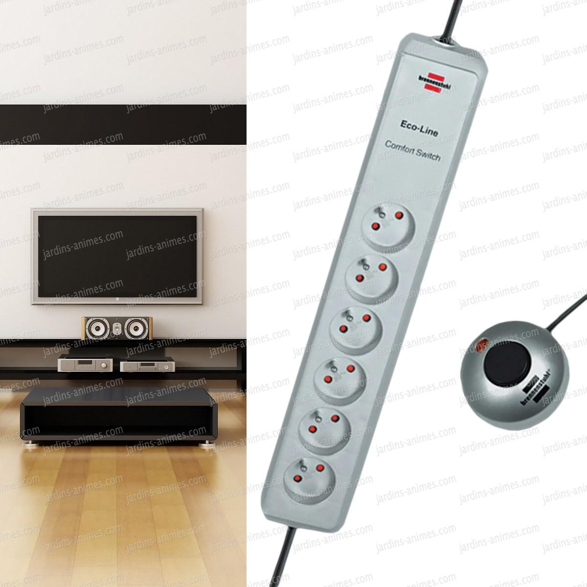 multiprise avec interrupteur d port x6 prises economie d 39 nergie. Black Bedroom Furniture Sets. Home Design Ideas