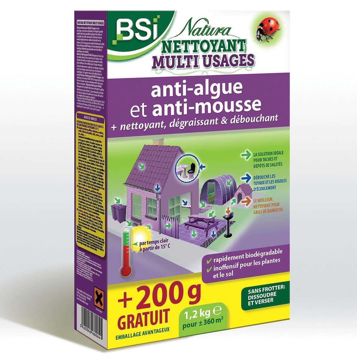 Anti Mousse Terrasse Beton natura, puissant nettoyant et antimousse 1kg + 200g gratuit