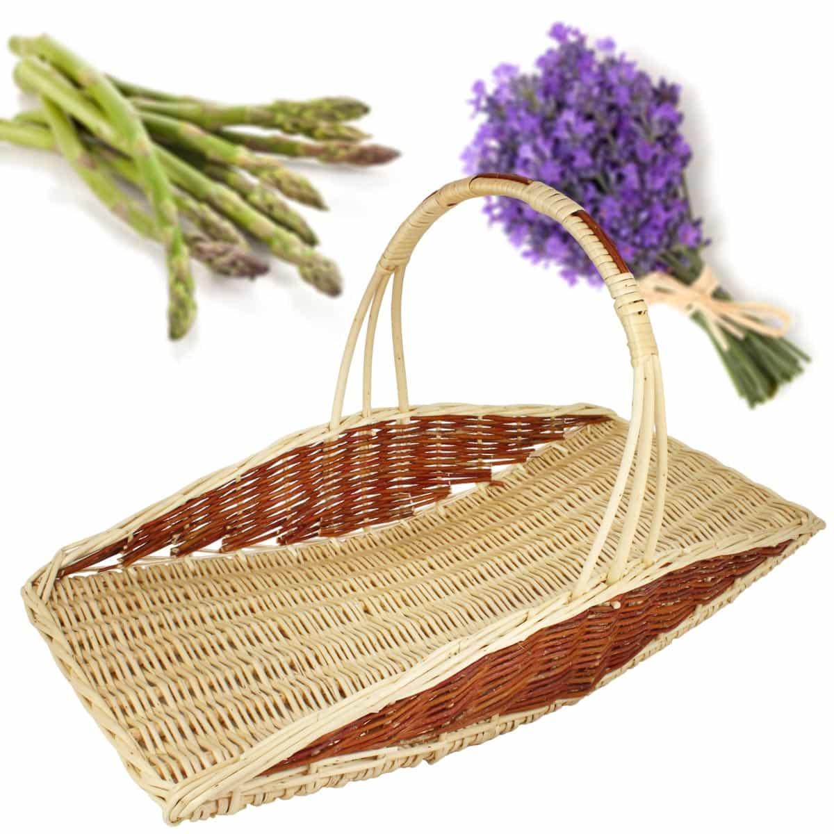 Panier De Fleurs Fraîches : Panier ? asperges et fleurs en osier accessoire