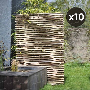Panneau noisetier L.120 x H.180cm - tressage horizontal - lot de 10