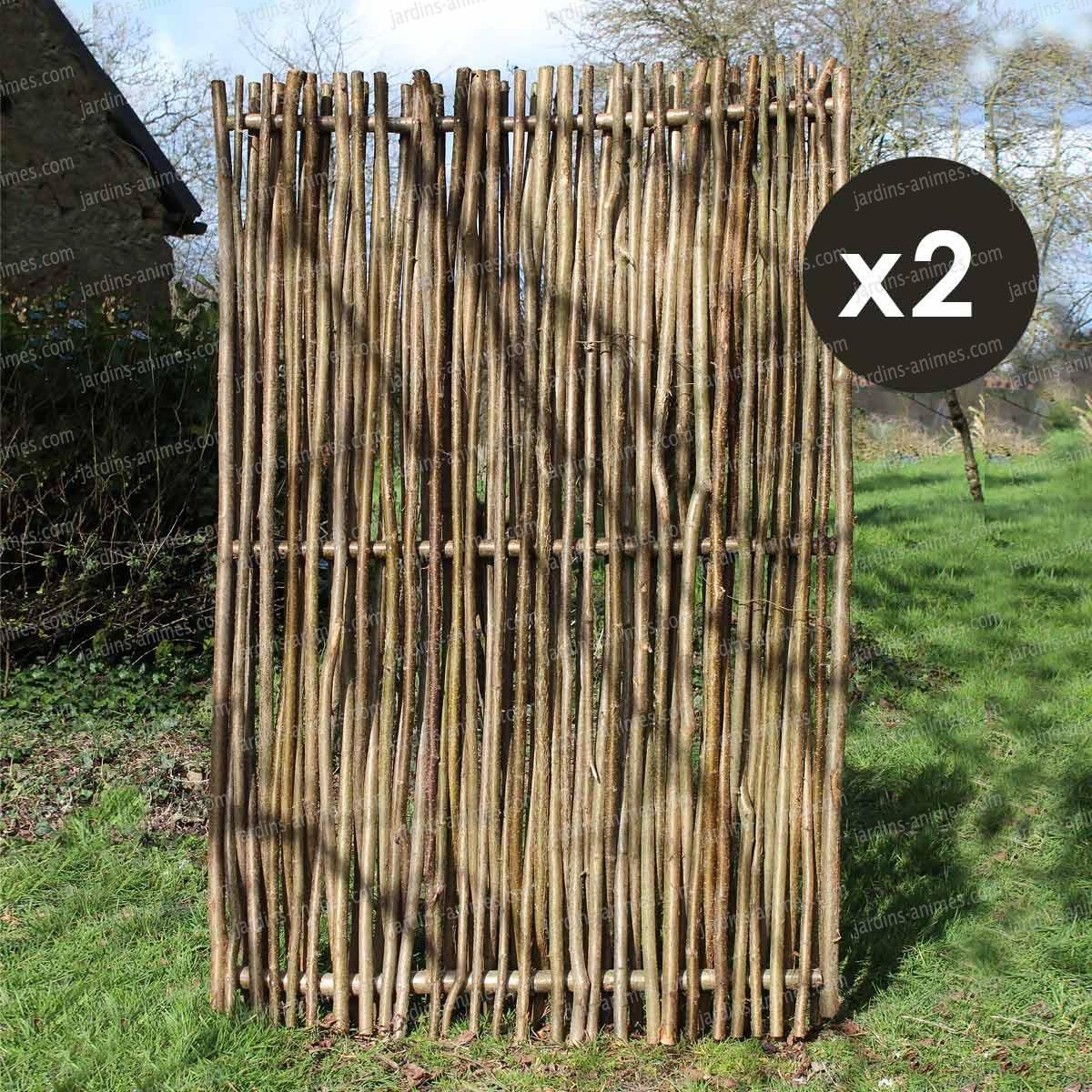 Panneau noisetier 120x180 tressage vertical lot de 2 for Panneau de jardin bois