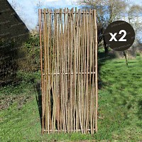 Panneau noisetier 80x180 - tressage vertical - lot de 2