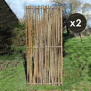 Panneau noisetier L.80 x H.180cm - tressage vertical - lot de 2