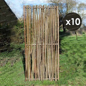 Panneau noisetier L.80 x H.180cm - tressage vertical - lot de 10