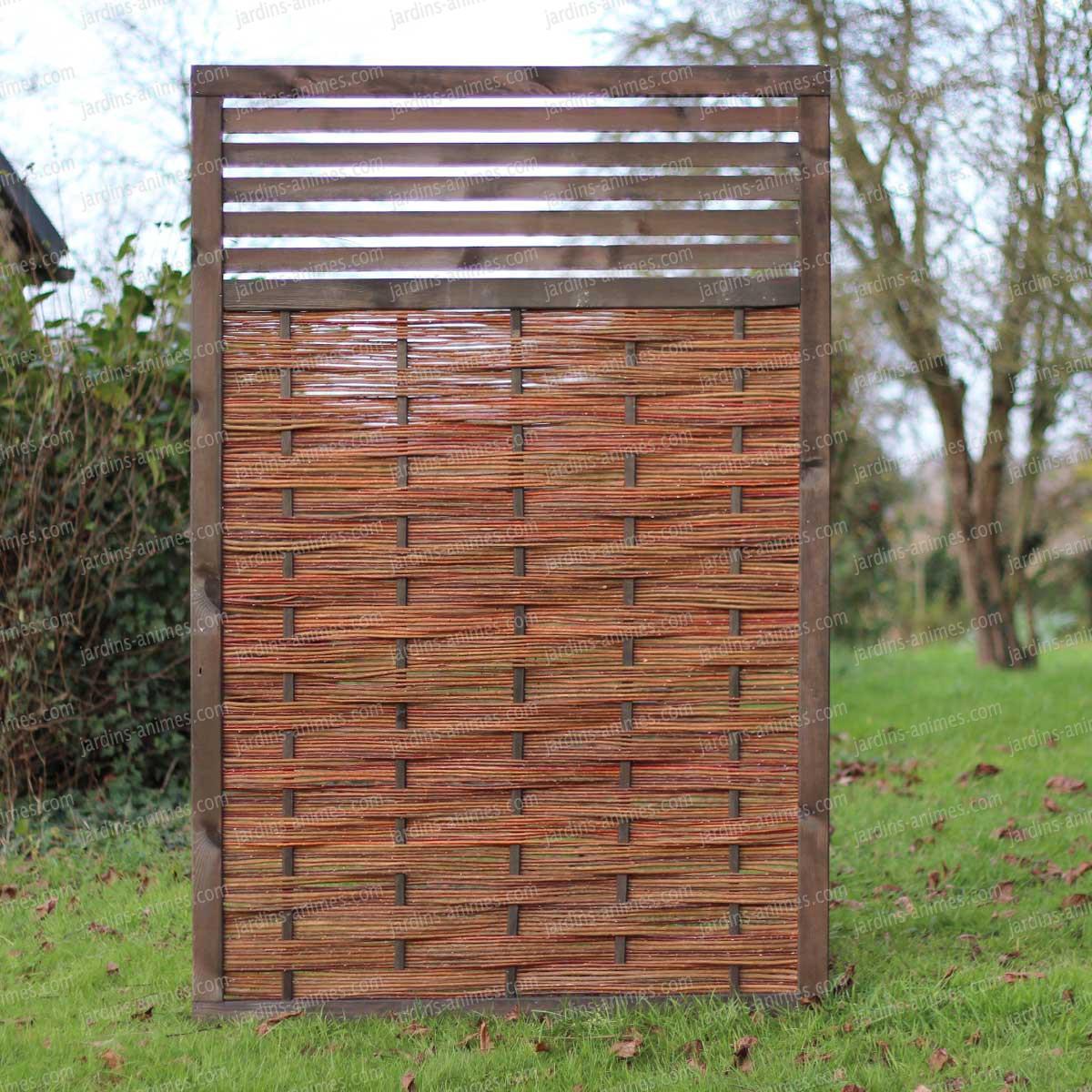 Panneau ajour pin fsc et osier tress 120x180cm cloture for Panneau de jardin bois