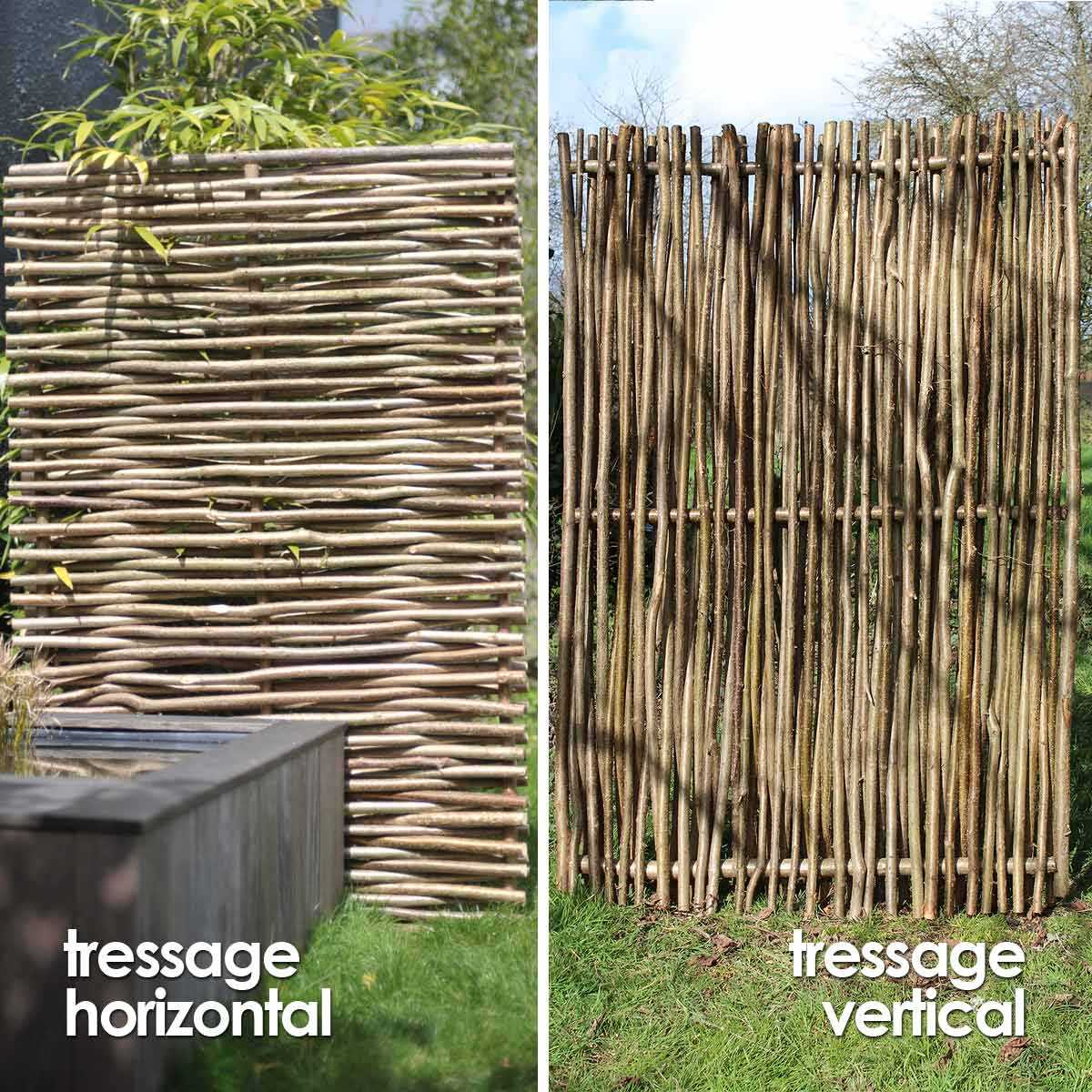 Brise Vue Terrasse Bois panneau noisetier tressage horizontal ou vertical