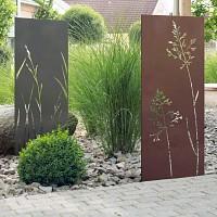 Panneau décoratif extérieur en métal H. 144 - 180cm - Motif végétal