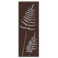 Panneau décoratif extérieur en métal H.144cm - Fougère marron