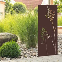 Panneau décoratif extérieur en métal H.144cm - Graminées marron