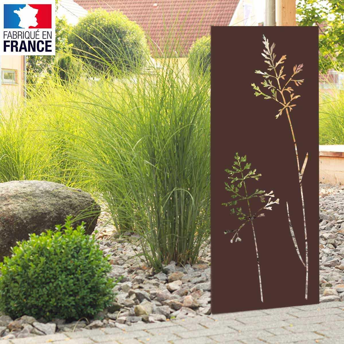 Décoration De Terrasse Extérieure panneau décoratif extérieur en métal h.144 - 180cm - motif végétal