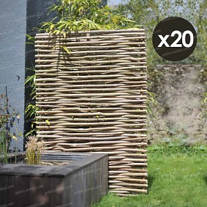 Panneau noisetier L.120 x H.180cm - tressage horizontal - lot de 20