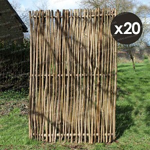 Panneau noisetier L.120 x H.180cm - tressage vertical - lot de 20