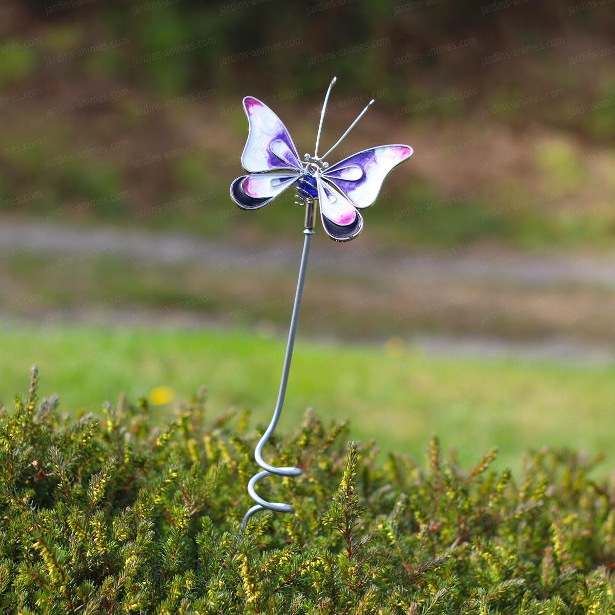 Papillon d coratif en verre sur tige tuteurs d coratifs - Papillon sur tige ...