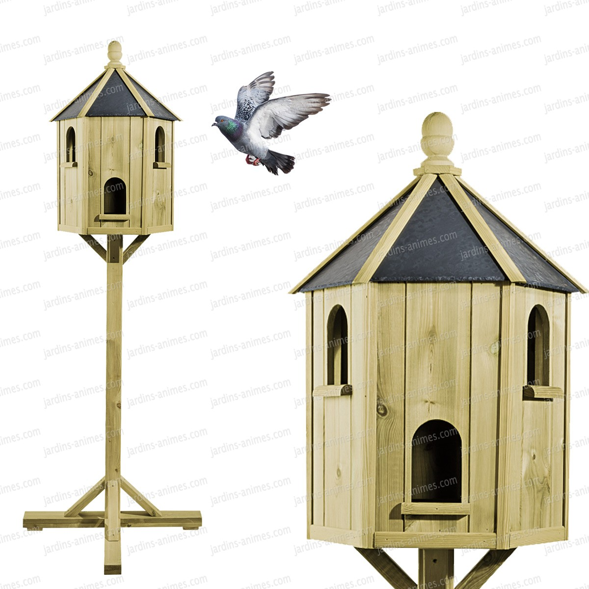 pigeonnier artisanal en bois sur pied h 180cm nichoirs. Black Bedroom Furniture Sets. Home Design Ideas