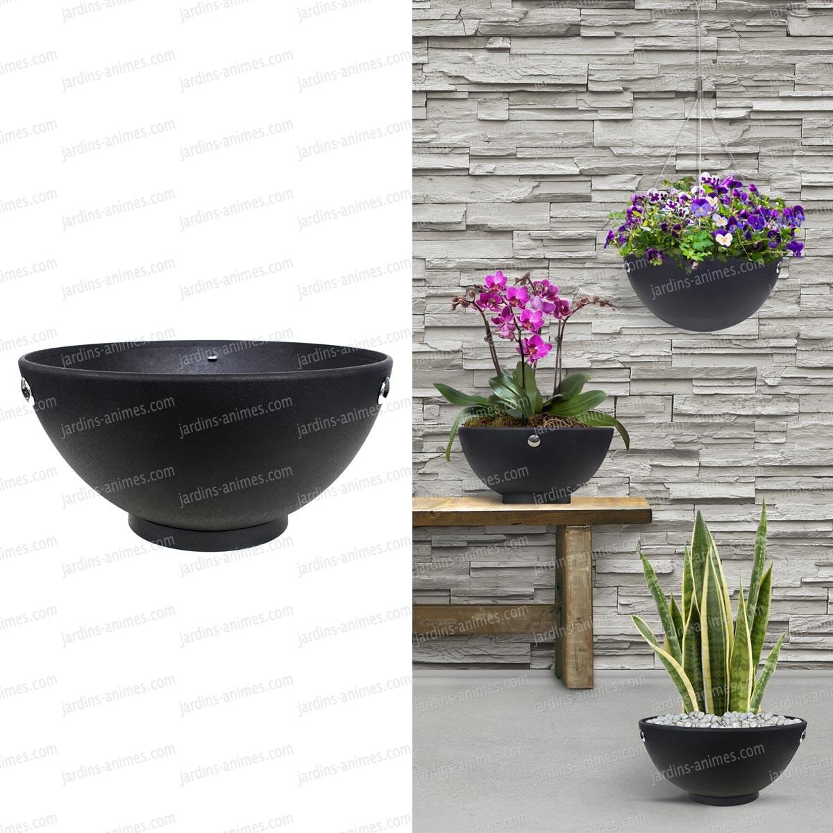 Pot De Fleur Avec Des Pneus pot de fleur rond � poser ou � suspendre - 100% caoutchouc recycl�