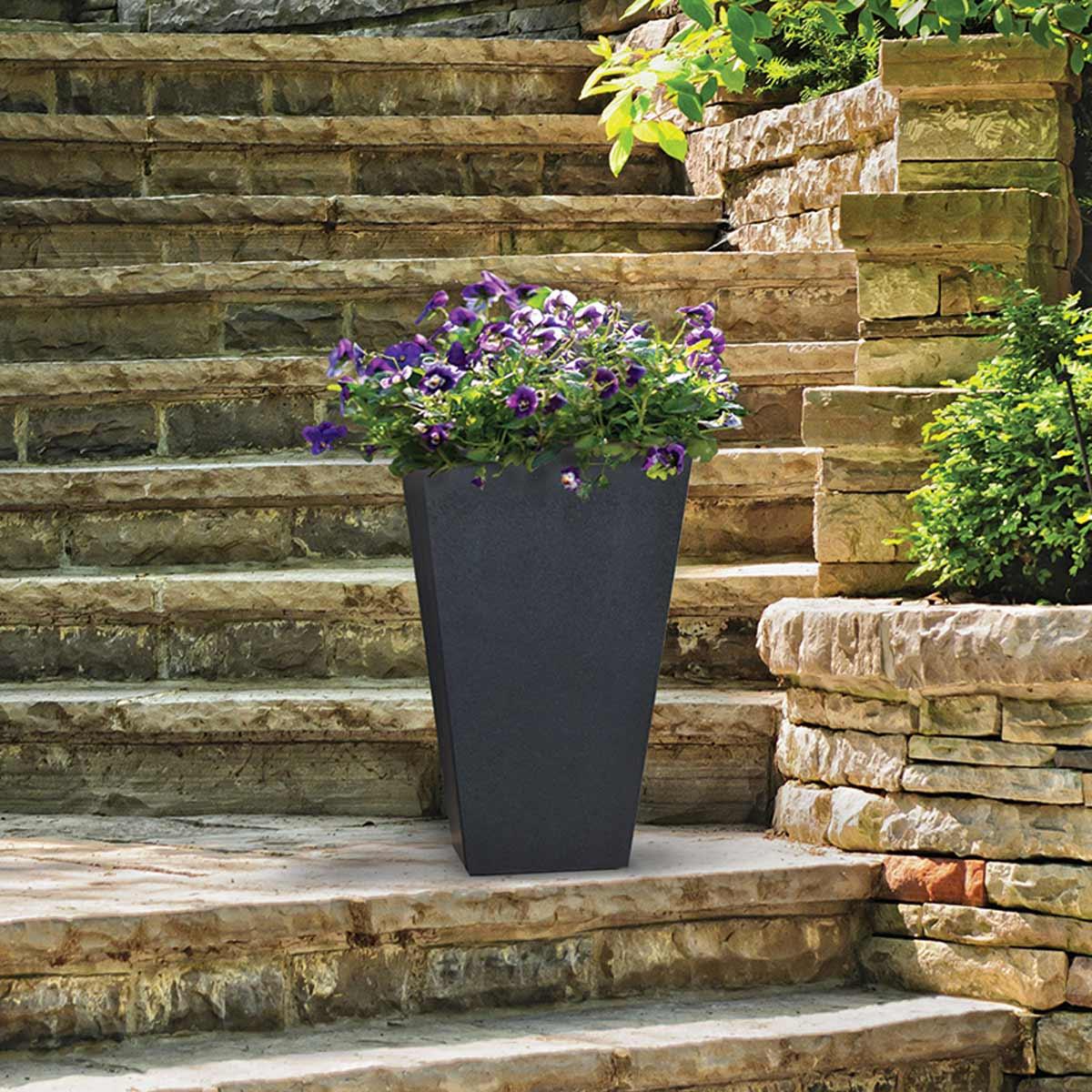 pot de fleurs gris sonata 100 recycl pots de fleurs. Black Bedroom Furniture Sets. Home Design Ideas