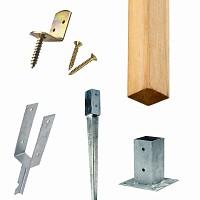 Poteau en bois et accessoires de fixation