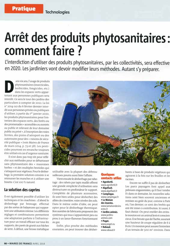 magazine Maires de France Avril 2014
