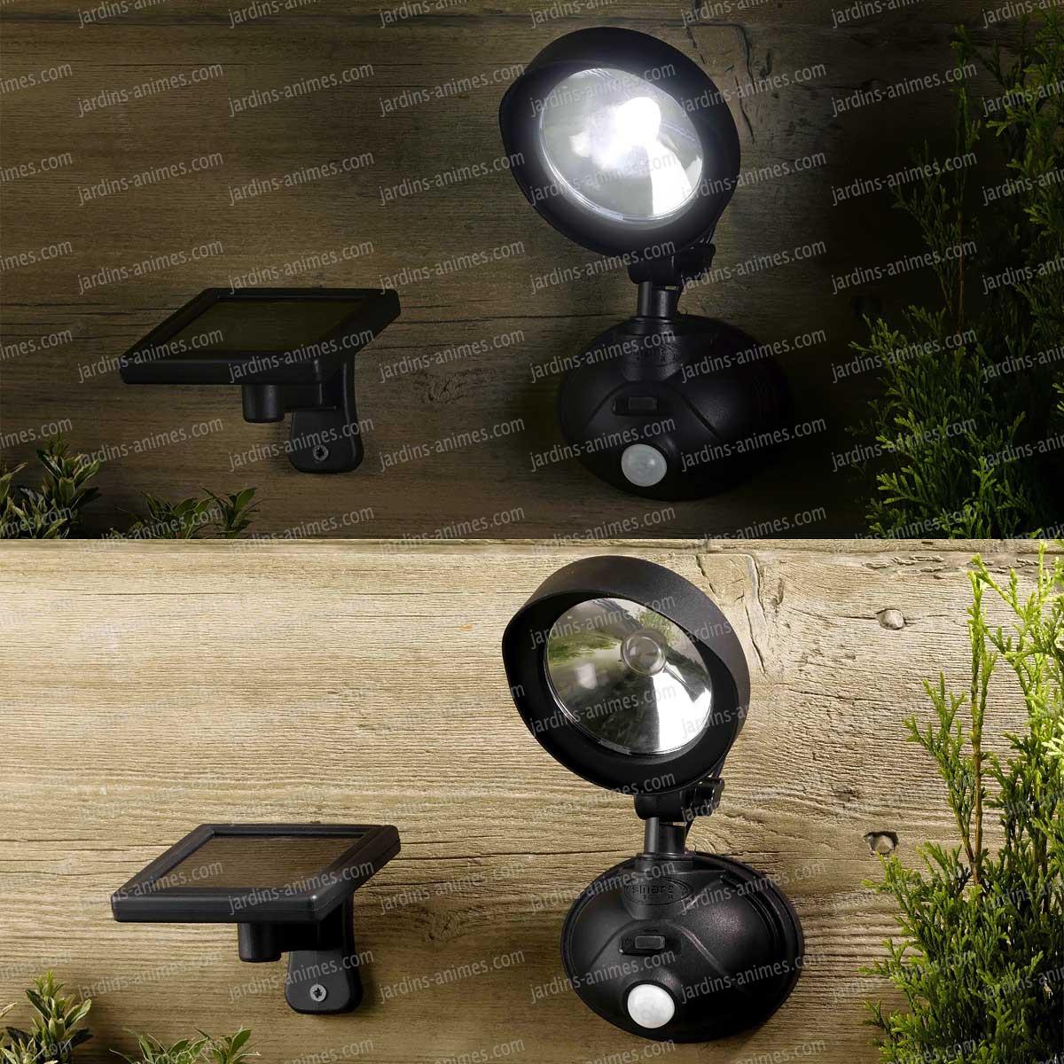 Projecteur de s curit solaire 1 led d tecteur mouvement eclairage et fontaine solaire - Spot solaire jardin ...