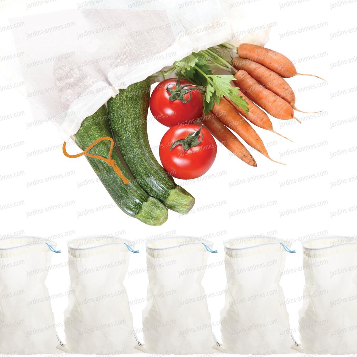 5 sacs r utilisables tissu bio fruits et l gumes accessoire ustensile cuisine. Black Bedroom Furniture Sets. Home Design Ideas