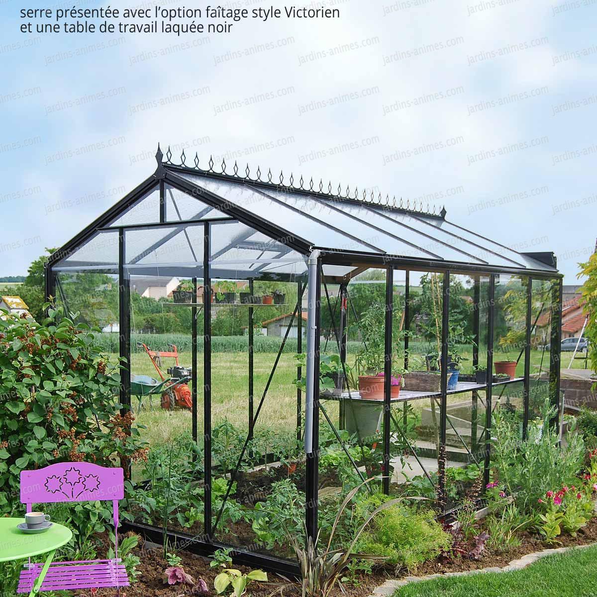 Serre de jardin prestige r tro laqu noir serre jardin - Accessoires serre de jardin ...
