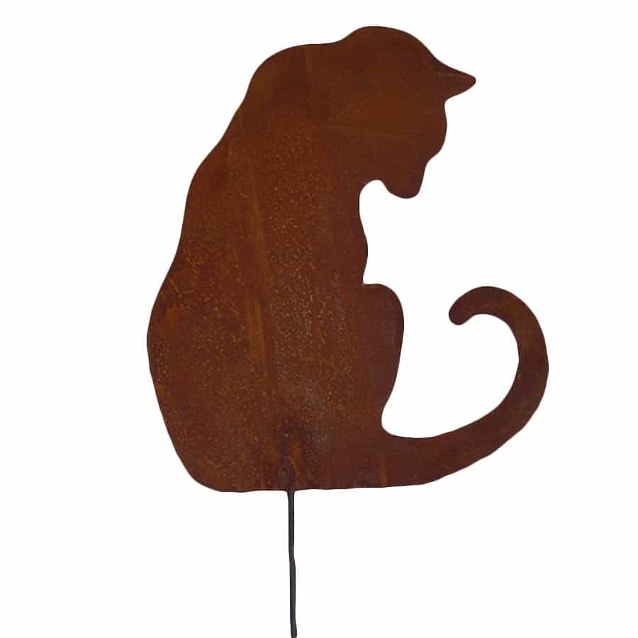 Silhouette chat assis intrigu d co de jardin en m tal for Personnage en fer pour jardin