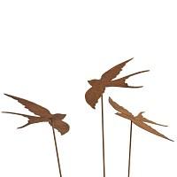Silhouette Hirondelle x3 - déco de jardin en métal