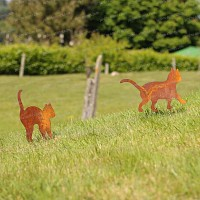 Lot de 2 silhouettes Chats - déco de jardin en métal