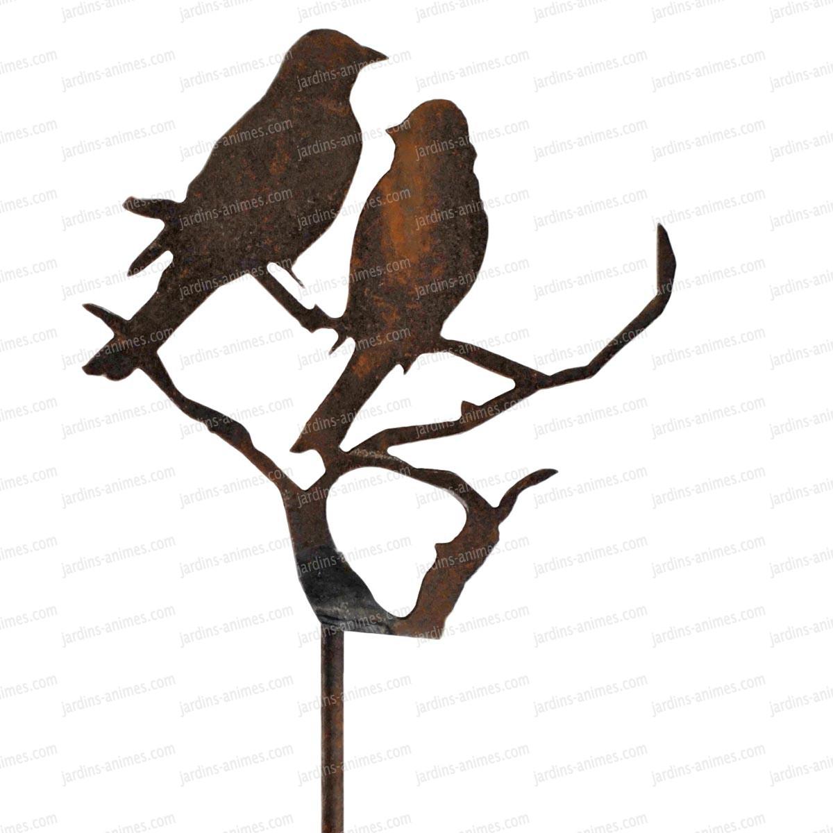 Silhouette oiseaux sur branche d co de jardin en m tal for Oiseau decoration jardin