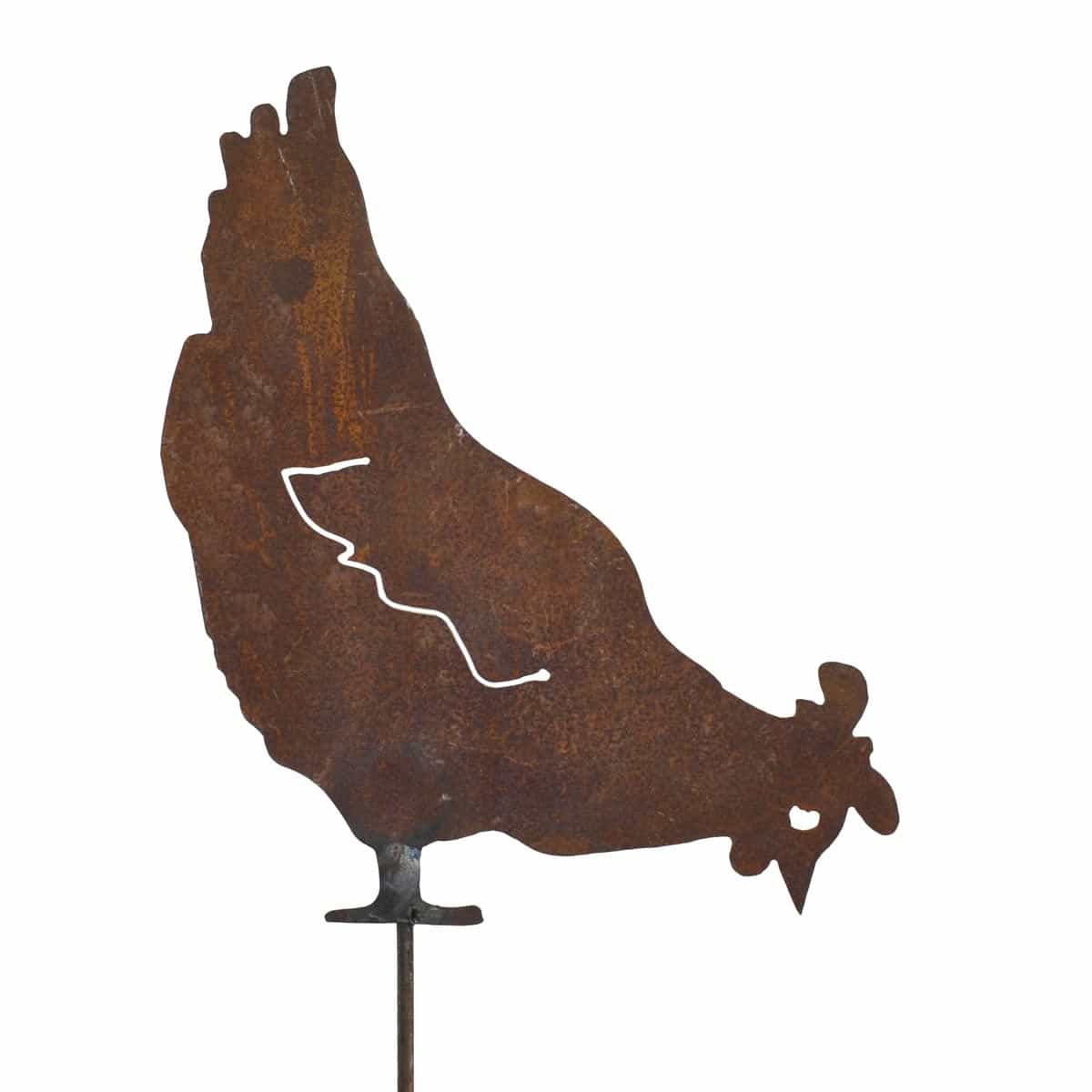 Silhouette poule qui picore d co de jardin en m tal for Plaque metal decorative pour jardin