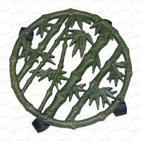 Porte plante à roulettes bambou