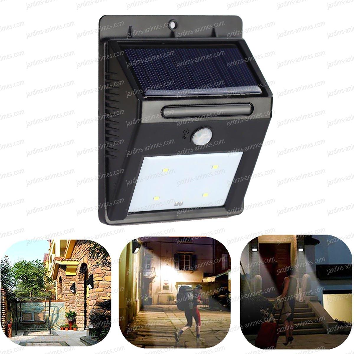 spot solaire 4 leds d tecteur de mouvement eclairage. Black Bedroom Furniture Sets. Home Design Ideas