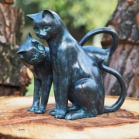Statue couple de chats en bronze H.30cm