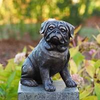 Sculpture chien en bronze - Statue animaux au jardin H.29 cm