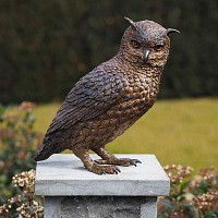 Statue hibou animal en bronze H. 30cm