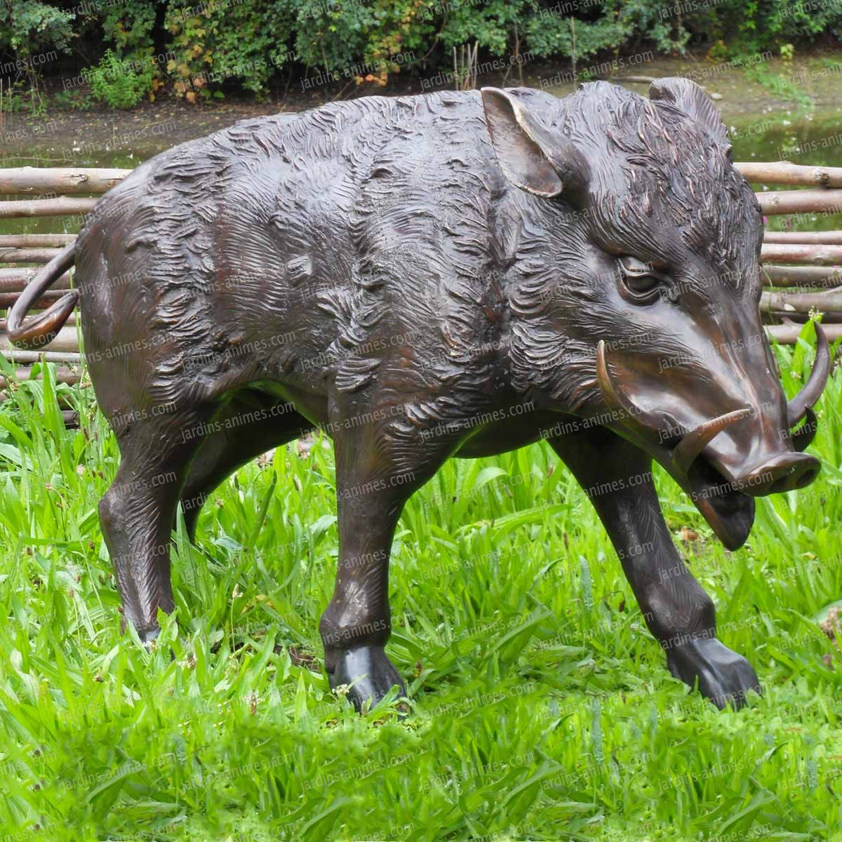 Sculpture sanglier en bronze statue animaux de jardin h 55cm figurines d coratives - Statue jardin ...
