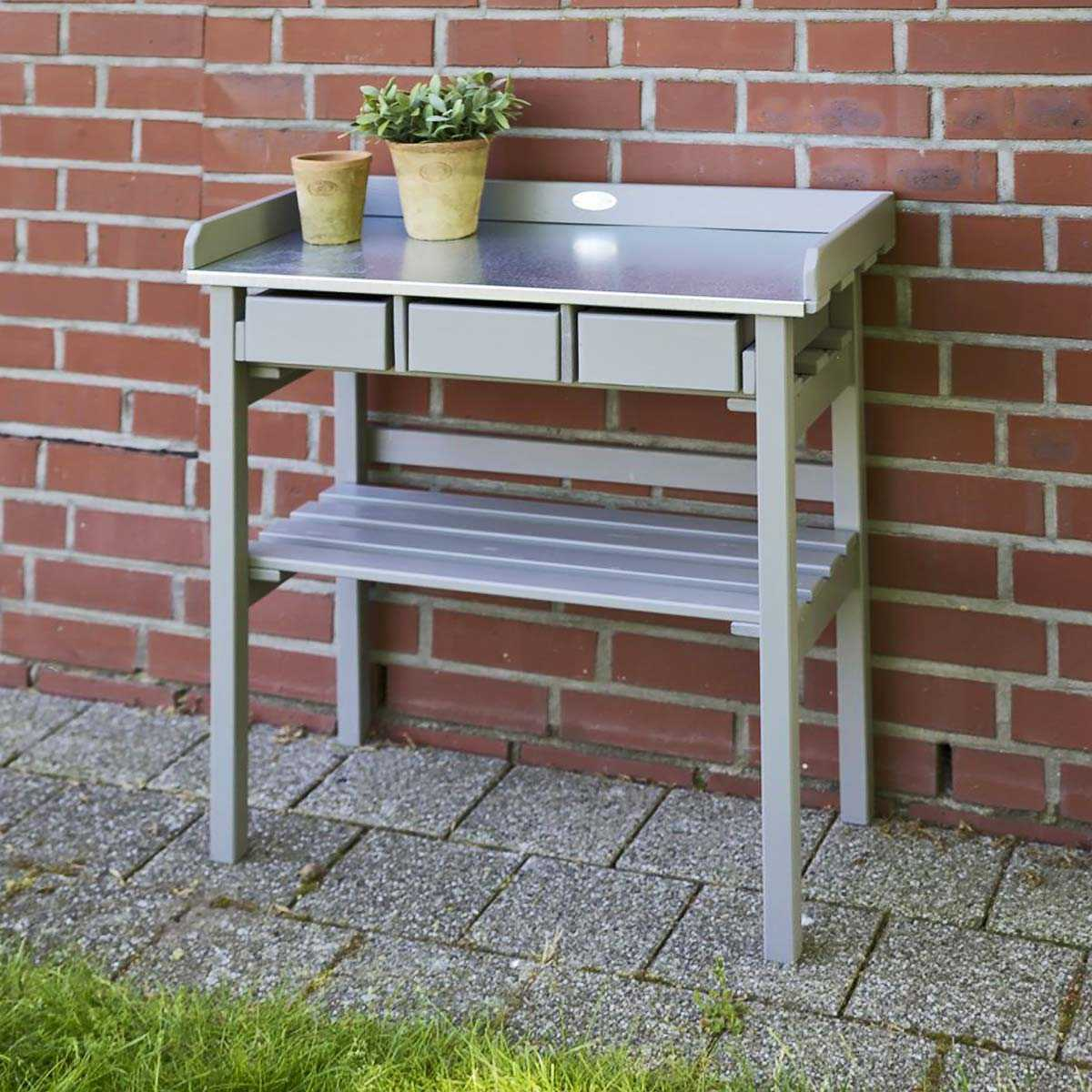 Table de rempotage bois zinc mobilier de jardin for Table en zinc de cuisine