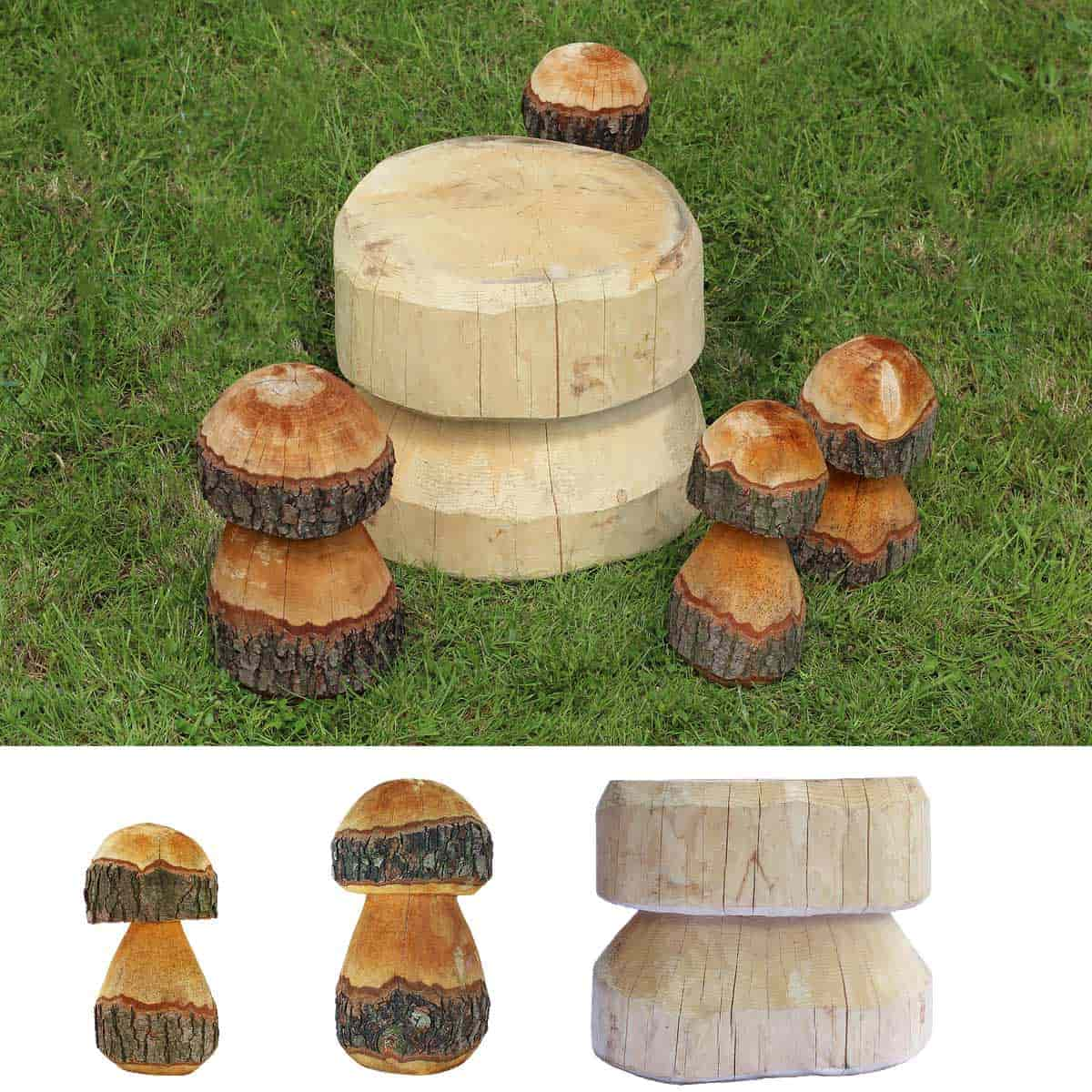 champignons d coratifs en bois mobilier de jardin. Black Bedroom Furniture Sets. Home Design Ideas