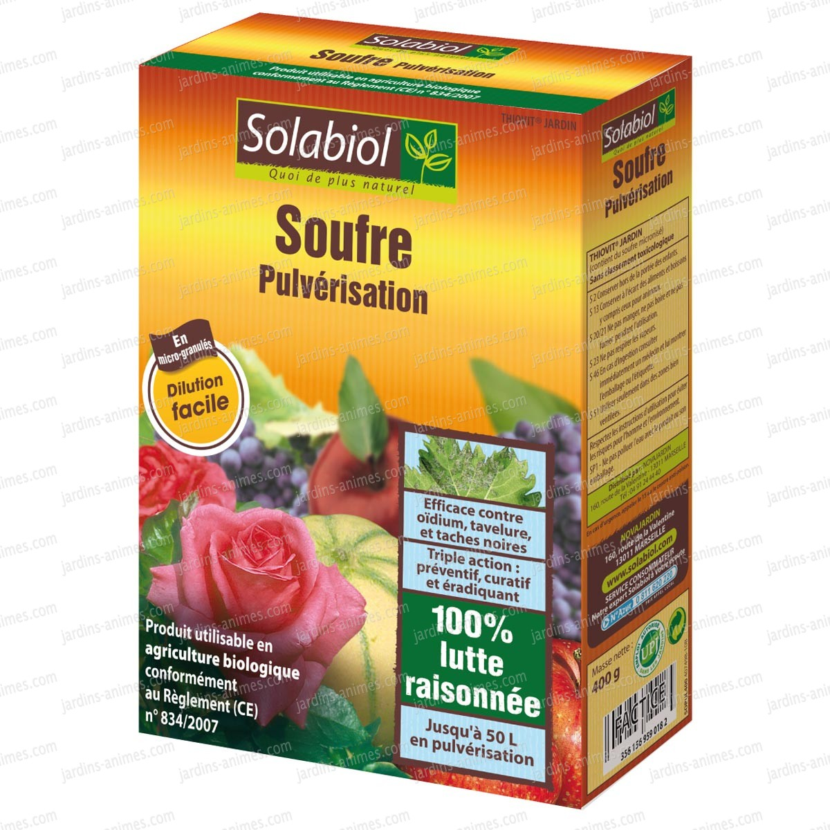Soufre contre oidium tache noire maladie des rosiers 400g fongicide bio - Produit fongicide pour murs ...