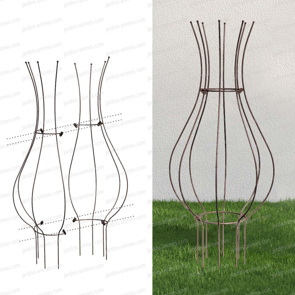tuteur tulipe en acier peint tuteurs plantes et tomates. Black Bedroom Furniture Sets. Home Design Ideas