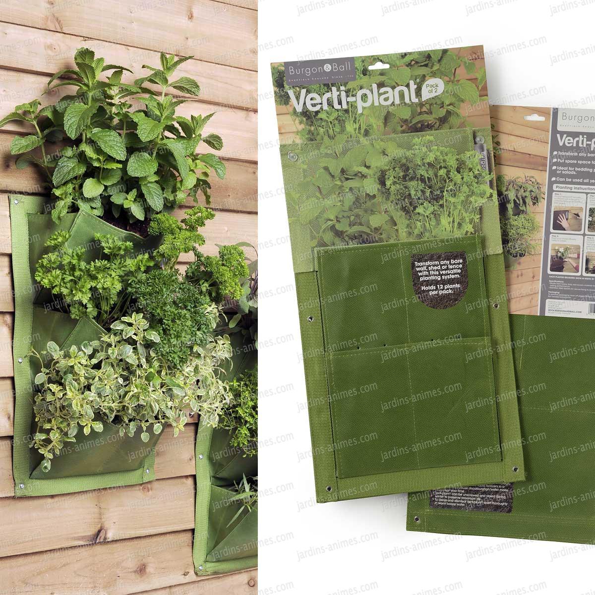 Verti plant 3 poches lot de 2 couleur vert mur for Mur vegetal exterieur quelles plantes